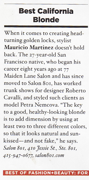 "7x7 Magazine Article, ""Best California Blonde"""